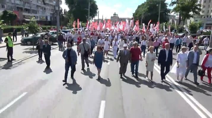 В Кишиневе проходит предвыборный марш избирательного блока коммунистов и социалистов