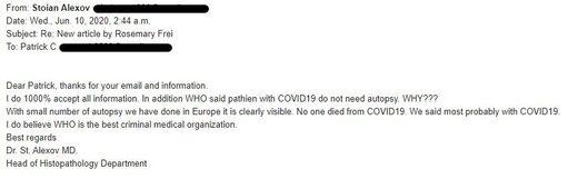 """OFF Guardian: """"Никто не умер от коронавируса"""". Важные откровения, которыми поделился д-р Стоян Алексов, президент Болгарской ассоциации патологоанатомов"""